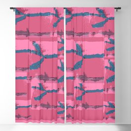 Pink Silk Barbed Wire, fiber art mixed media, abstract Blackout Curtain