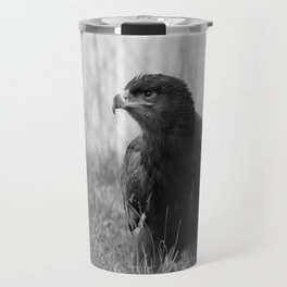 Young Common Buzzard B&W Travel Mug