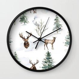Winter Trees & Deer Pattern Wall Clock