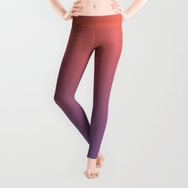 Pantone Living Coral & Chive Blossom Purple Gradient Ombre Blend, Soft Horizontal Line Leggings