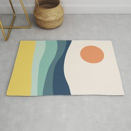 Abstract landscape with sea and sun Rug