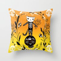 Day of the Dead Cat  Throw Pillow