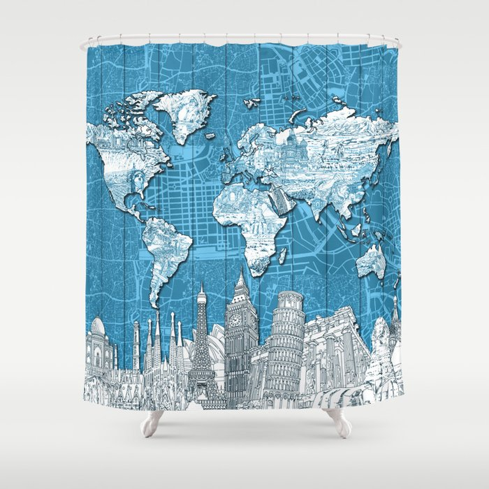 World map city skyline 10 shower curtain by bekimart society6 world map city skyline 10 shower curtain gumiabroncs Gallery