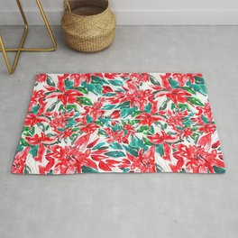 Red wild greeny floral pattern design Rug