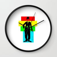 chaplin Wall Clocks featuring Charlie Chaplin by Silvio Ledbetter