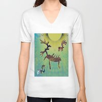 reindeer V-neck T-shirts featuring reindeer by donphil