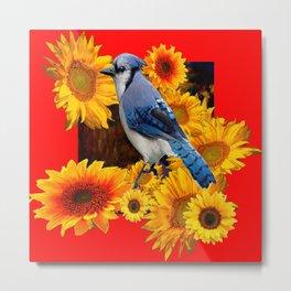 RED SUNFLOWERS  & BLUE JAY ART Metal Print