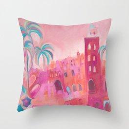 Marrakesh Markets - Colourful Moroccan Buildings, Souk and Market Umbrellas Throw Pillow