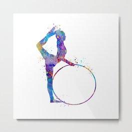 Rhythmic Gymnastics Art Gymnastic Hoop Girl Art Colorful Blue Purple Watercolor Art Flexible Girls Metal Print