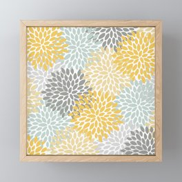 Floral Pattern, Yellow, Pale, Aqua and Gray Framed Mini Art Print