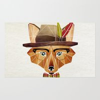 mr fox Area & Throw Rugs featuring mr. fox by Manoou