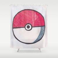 pokeball Shower Curtains featuring Pokeball Zentangle by Amanda Brooks
