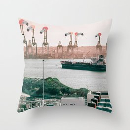 Silent Flamingo Harbour Throw Pillow