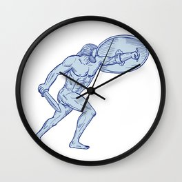 Hercules With Shield and Sword Drawing Wall Clock