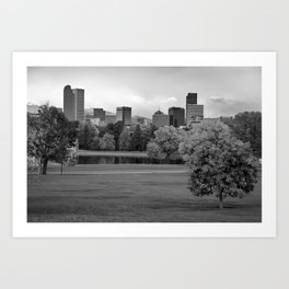 Autumn Denver Skyline - Mile High City View in Black and White Art Print