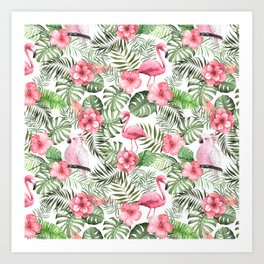 Watercolor Tropical Leaves Flowers Flamingo Cockatoo Art Print