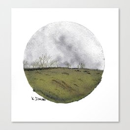 Cicular minimalist watercolour and ink landscape- grey and green Canvas Print