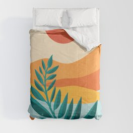 Mountain Sunset / Abstract Landscape Illustration Comforters