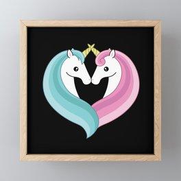 Unicorn heart Framed Mini Art Print