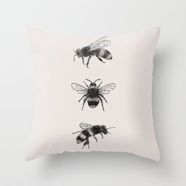 Three Bees Throw Pillow