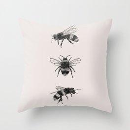 Three Bees Throw Pillow
