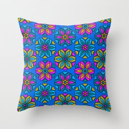 1970s retro flower print - blues Throw Pillow