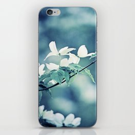 Navy Blue White Nature Photography, Dogwood Tree Branches, Dark Flower Floral Branch, Botanical Blue iPhone Skin