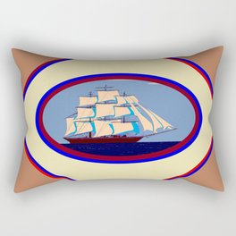 A Nautical Scene with Clipper Ship with Taupe Background Rectangular Pillow