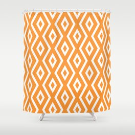 Orange Diamond Pattern Shower Curtain