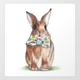 Easter Bunny wearing Bow Tie Art Print