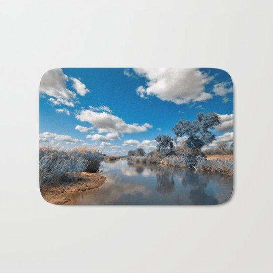 Kruger Park Landscape - Winter Blue Bath Mat