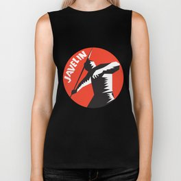 Javelin Throw Track and Field Athlete Circle Woodcut Biker Tank