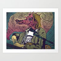 seahorse Art Prints featuring Seahorse by Dewey Guyen