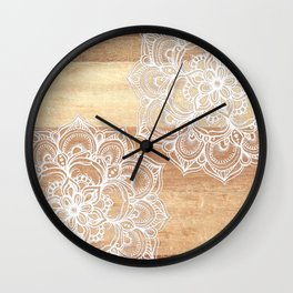 White doodles on blonde wood - neutral / nude colors Wall Clock