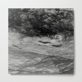Black Tempest - Abtract Ocean Sea Pattern in Black And White Metal Print