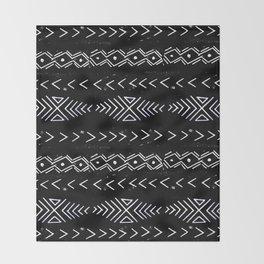 Mudcloth linocut design original black and white minimal inky texture pattern Throw Blanket