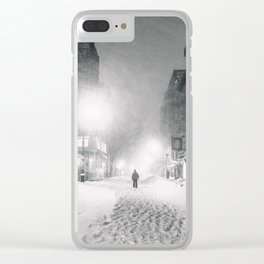Alone in a Blizzard - New York City Clear iPhone Case