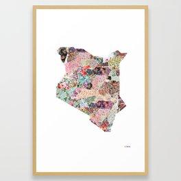 Kenya map portrait Framed Art Print