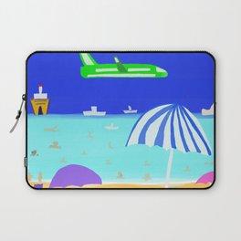 Light Green Plane by artbykost Laptop Sleeve