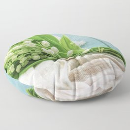 a bunch of lily of the valley Floor Pillow