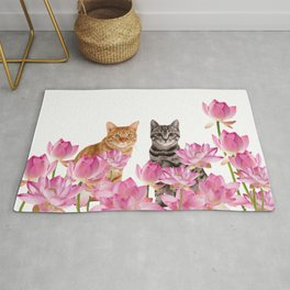 Red and Tiger cat in Lotos Flower Field Rug