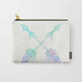 Arrows Blue Green Pink Vintage Cream Carry-All Pouch