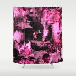 Harsh Pink - Neon Pink Abstract Shower Curtain