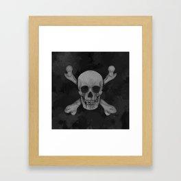 Jolly Roger Pirate Skull Grunge Framed Art Print