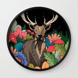 Night garden Deer Wall Clock
