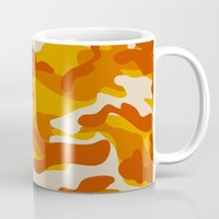 military Mugs featuring Orange Military Camouflage Pattern by SW Creation
