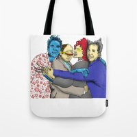 seinfeld Tote Bags featuring The Uncanny Seinfeld by capperflapper