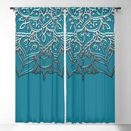 Silver & Teal Mandala Blackout Curtain