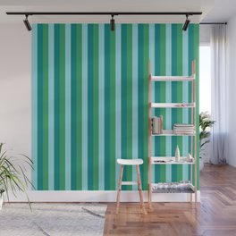 Tanager Turquoise, Teal Blue and Kelly Green Repeat Line Pattern Wall Mural