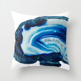 Blotchy Blue Brain Agate Slice Throw Pillow